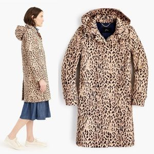 J.Crew Leopard Trench Coat with Removable Hood